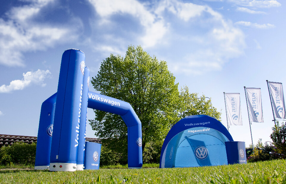 AXION Lite Inflatable Event Tent, Inflatable Arch and Inflatable Tube for VW motor dealer