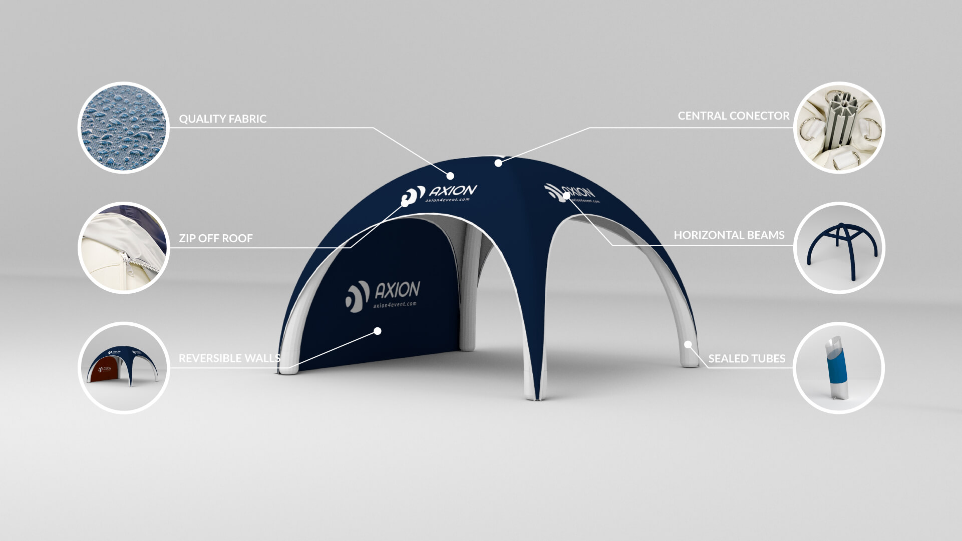 Axion Square Inflatable Event Tent from 4m x 4m to 7m x 7m